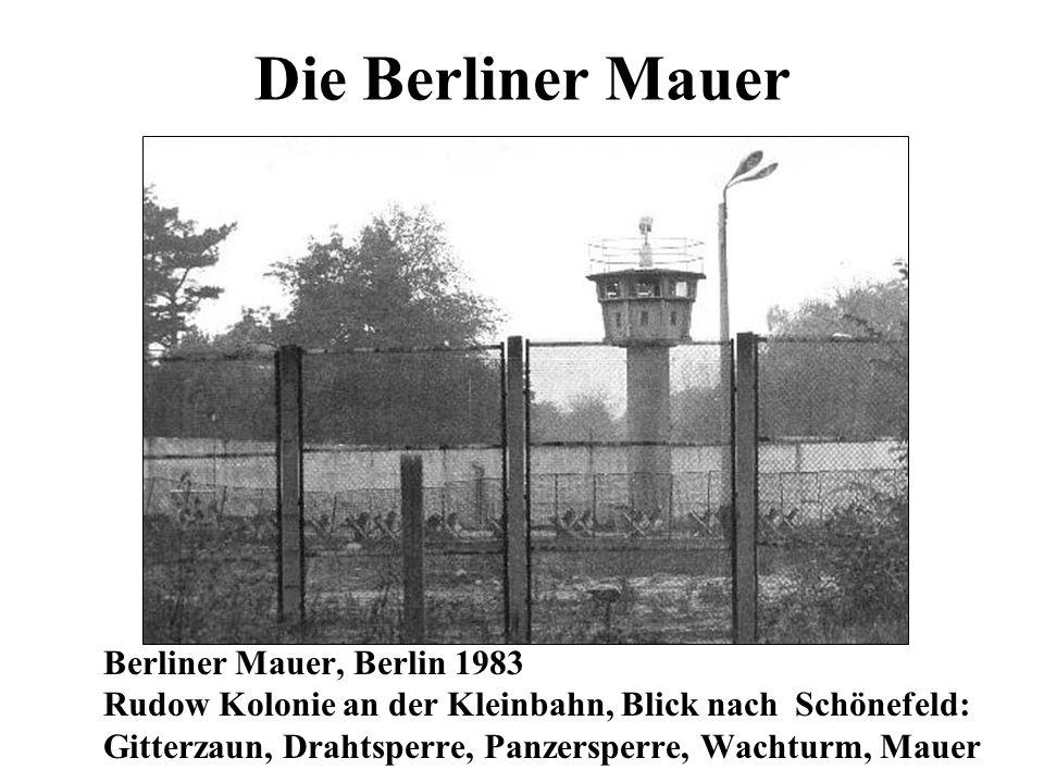 Die Berliner Mauer Berliner Mauer, Berlin 1983 Rudow Kolonie an der Kleinbahn, Blick nach Schönefeld: Gitterzaun, Drahtsperre, Panzersperre, Wachturm,