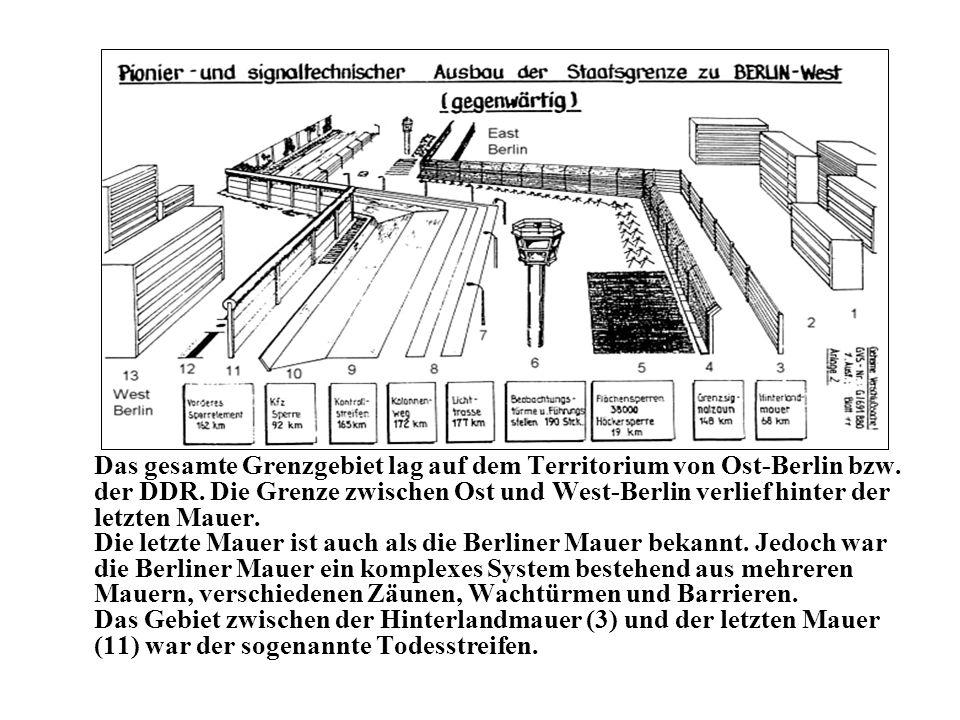 Das gesamte Grenzgebiet lag auf dem Territorium von Ost-Berlin bzw. der DDR. Die Grenze zwischen Ost und West-Berlin verlief hinter der letzten Mauer.
