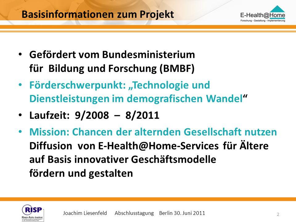 Joachim Liesenfeld Abschlusstagung Berlin 30. Juni 2011 2 Basisinformationen zum Projekt Gefördert vom Bundesministerium für Bildung und Forschung (BM