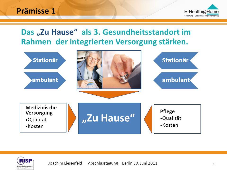 Joachim Liesenfeld Abschlusstagung Berlin 30. Juni 2011 3 Das Zu Hause als 3. Gesundheitsstandort im Rahmen der integrierten Versorgung stärken. Mediz