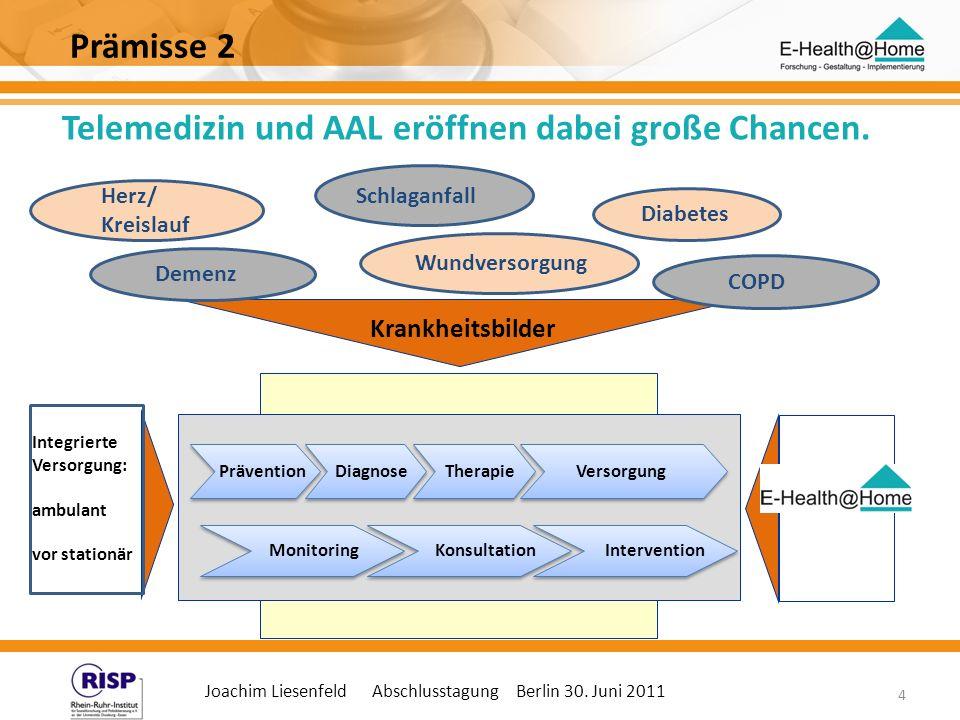 Joachim Liesenfeld Abschlusstagung Berlin 30. Juni 2011 4 Telemedizin und AAL eröffnen dabei große Chancen. Prävention Diagnose Therapie Versorgung Kr