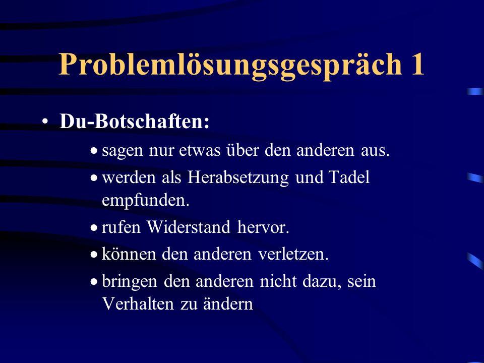 Problemlösungsgespräch 2 Ich-Botschaften: Eine konkrete Beschreibung der Situation, die mich stört, oder des Verhaltens, das mir Probleme bereitet.