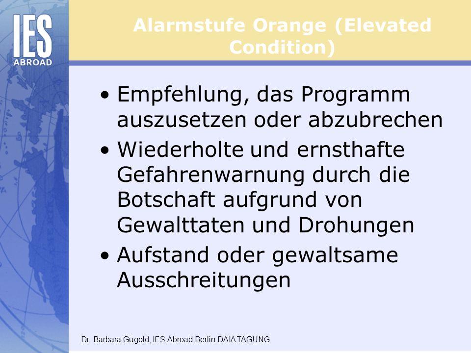 Alarmstufe Orange (Elevated Condition) Empfehlung, das Programm auszusetzen oder abzubrechen Wiederholte und ernsthafte Gefahrenwarnung durch die Botschaft aufgrund von Gewalttaten und Drohungen Aufstand oder gewaltsame Ausschreitungen Dr.