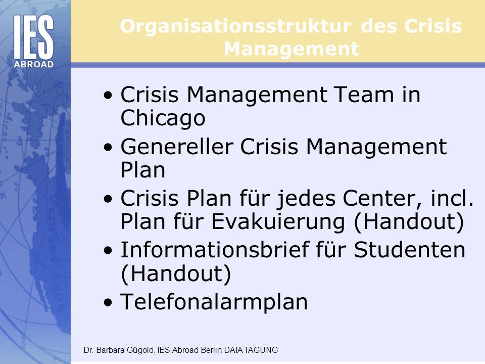 Organisationsstruktur des Crisis Management Crisis Management Team in Chicago Genereller Crisis Management Plan Crisis Plan für jedes Center, incl.