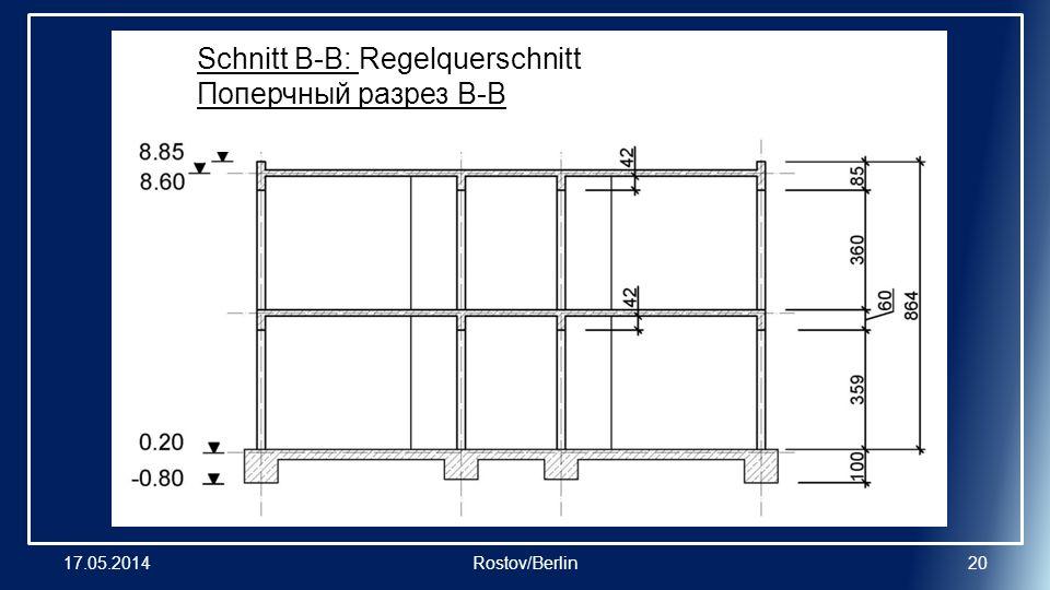 17.05.2014Rostov/Berlin20 Schnitt B-B: Regelquerschnitt Поперчный разрез B-B