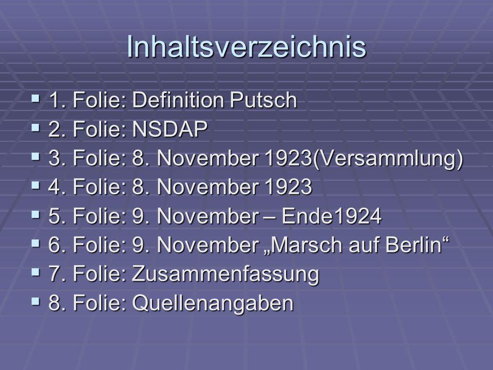 Inhaltsverzeichnis 1. Folie: Definition Putsch 1. Folie: Definition Putsch 2. Folie: NSDAP 2. Folie: NSDAP 3. Folie: 8. November 1923(Versammlung) 3.