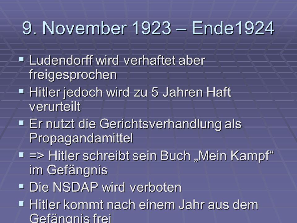 9. November 1923 – Ende1924 Ludendorff wird verhaftet aber freigesprochen Ludendorff wird verhaftet aber freigesprochen Hitler jedoch wird zu 5 Jahren