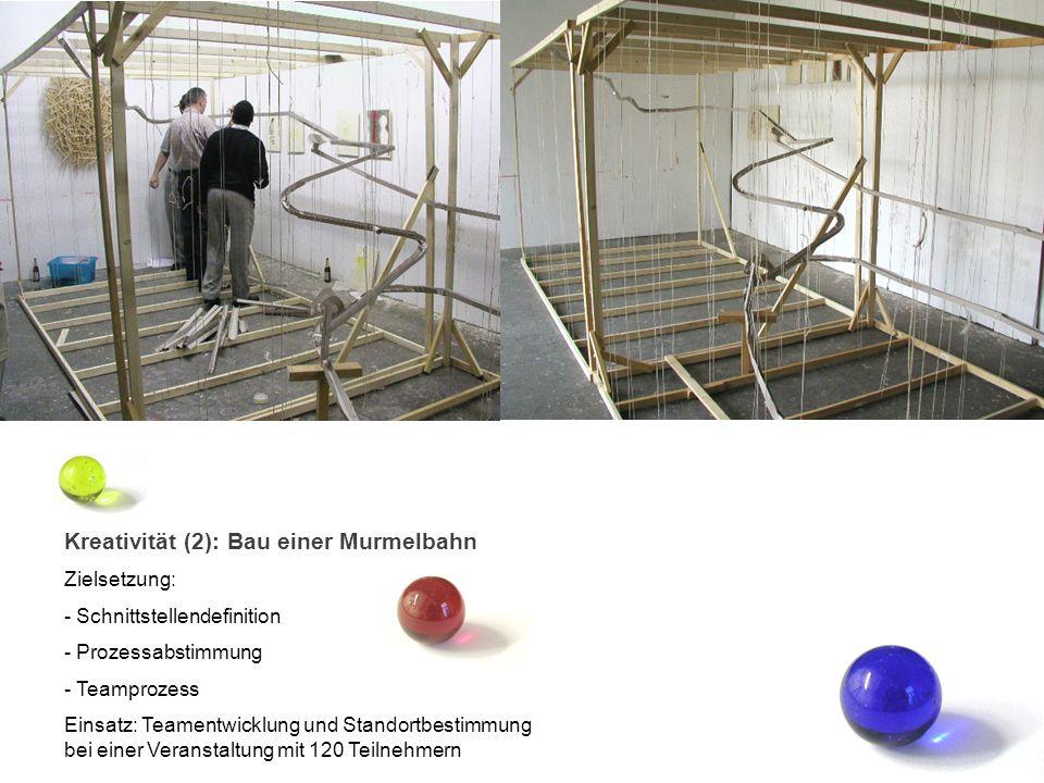 Kreativität (2): Bau einer Murmelbahn Zielsetzung: - Schnittstellendefinition - Prozessabstimmung - Teamprozess Einsatz: Teamentwicklung und Standortb