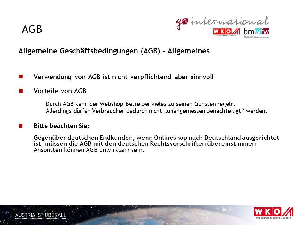 AGB Allgemeine Geschäftsbedingungen (AGB) – Allgemeines Verwendung von AGB ist nicht verpflichtend aber sinnvoll Vorteile von AGB Durch AGB kann der W