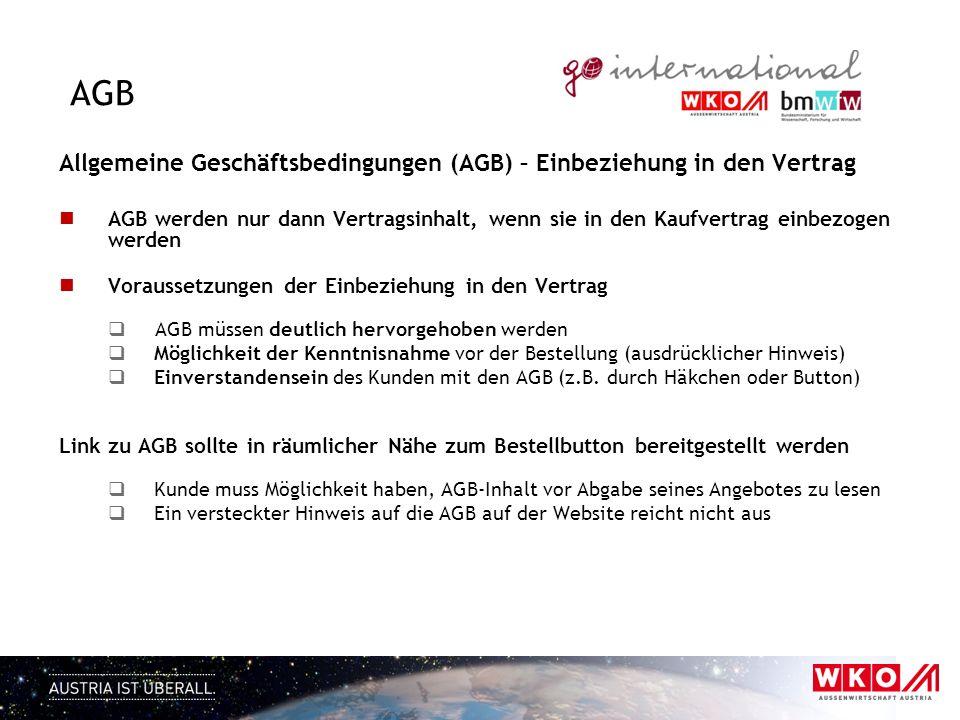 AGB Allgemeine Geschäftsbedingungen (AGB) – Einbeziehung in den Vertrag AGB werden nur dann Vertragsinhalt, wenn sie in den Kaufvertrag einbezogen wer
