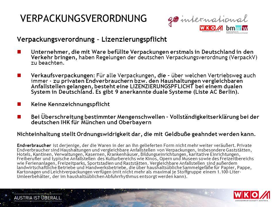 VERPACKUNGSVERORDNUNG Verpackungsverordnung – Lizenzierungspflicht Unternehmer, die mit Ware befüllte Verpackungen erstmals in Deutschland in den Verk