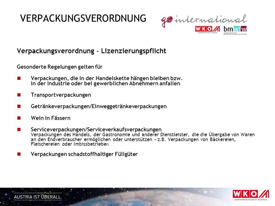 VERPACKUNGSVERORDNUNG Verpackungsverordnung – Lizenzierungspflicht Gesonderte Regelungen gelten für Verpackungen, die in der Handelskette hängen bleib