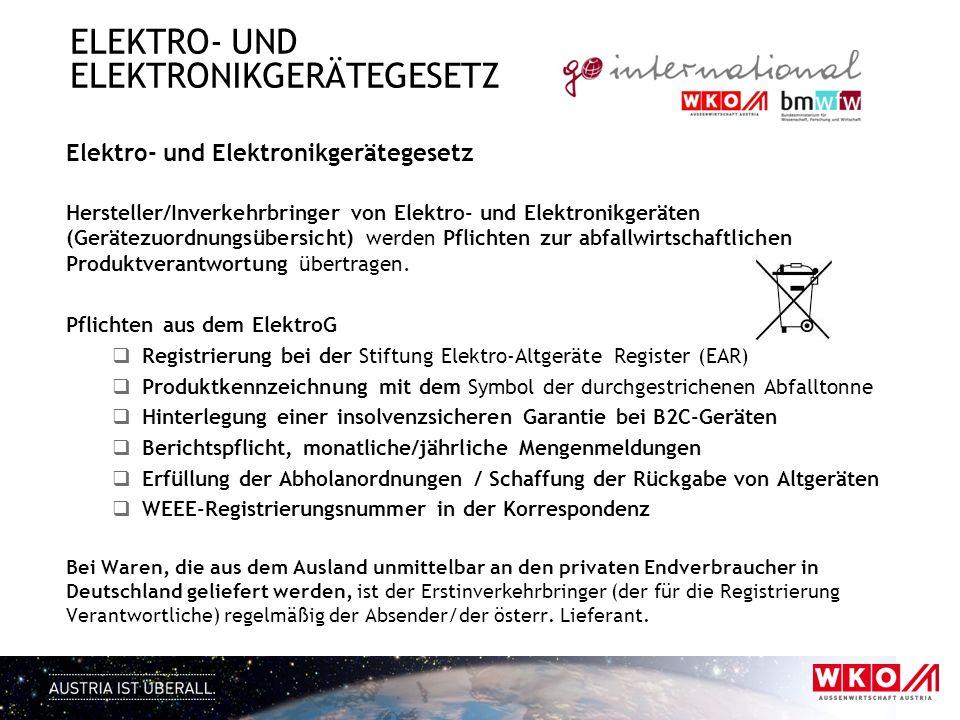 ELEKTRO- UND ELEKTRONIKGERÄTEGESETZ Elektro- und Elektronikgerätegesetz Hersteller/Inverkehrbringer von Elektro- und Elektronikgeräten (Gerätezuordnun