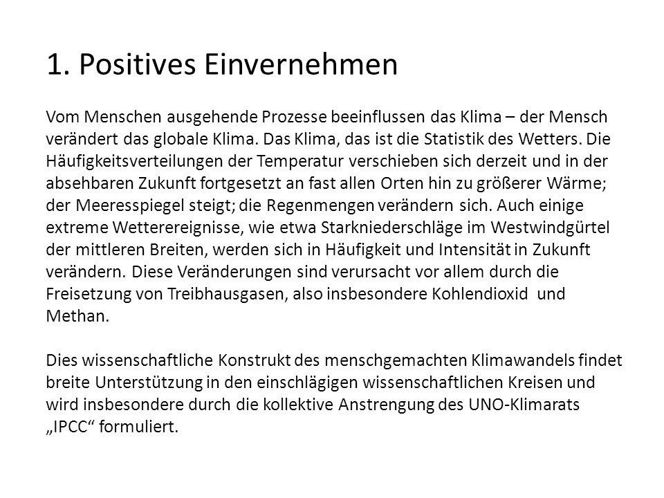 1. Positives Einvernehmen Vom Menschen ausgehende Prozesse beeinflussen das Klima – der Mensch verändert das globale Klima. Das Klima, das ist die Sta