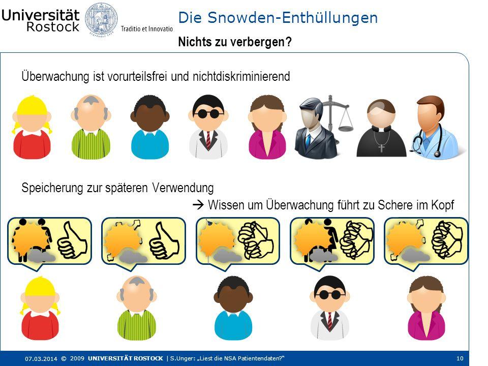 Überwachung ist vorurteilsfrei und nichtdiskriminierend Nichts zu verbergen? Die Snowden-Enthüllungen 07.03.2014 © 2009 UNIVERSITÄT ROSTOCK | S.Unger: