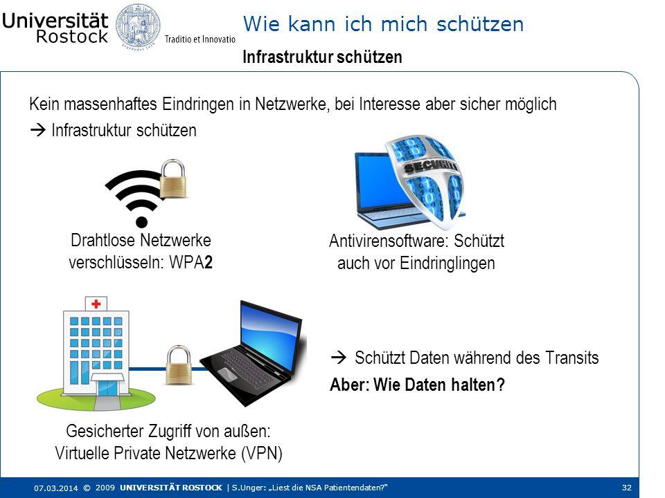 Kein massenhaftes Eindringen in Netzwerke, bei Interesse aber sicher möglich Infrastruktur schützen Wie kann ich mich schützen 07.03.2014 © 2009 UNIVE