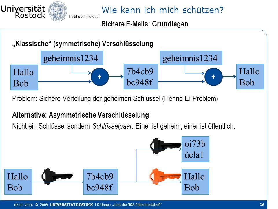 Klassische (symmetrische) Verschlüsselung Sichere E-Mails: Grundlagen Wie kann ich mich schützen? 07.03.2014 © 2009 UNIVERSITÄT ROSTOCK | S.Unger: Lie