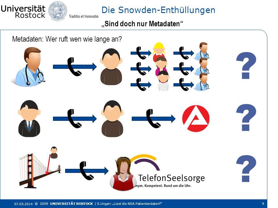 Metadaten: Wer ruft wen wie lange an? Sind doch nur Metadaten Die Snowden-Enthüllungen 07.03.2014 © 2009 UNIVERSITÄT ROSTOCK | S.Unger: Liest die NSA