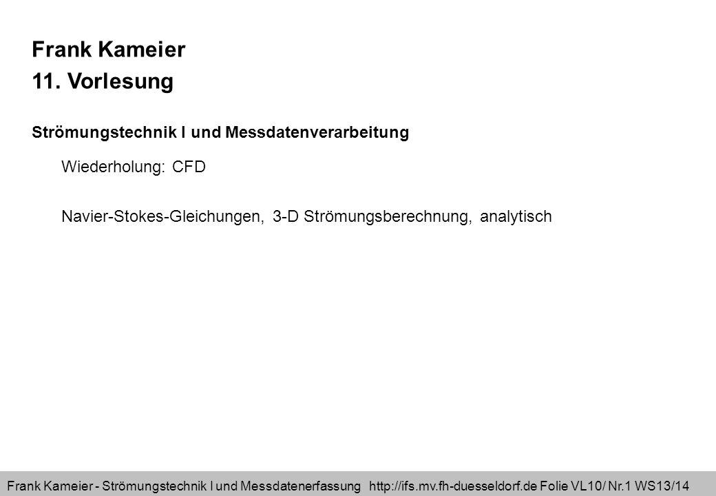 Frank Kameier - Strömungstechnik I und Messdatenerfassung http://ifs.mv.fh-duesseldorf.de Folie VL10/ Nr.22 WS13/14 fxfx fyfy g fx=g*sin( ) fy=-g*cos( ) gesucht: p(y), c(y)Strömung nur in u-Richtung (Symmetriebetrachtung) Schritt2 Schritt3 Schritt4 Schritt5 Schritt6 u=u(y)v=0w=0 Schritt1=problembezogenes Koordinatensystem