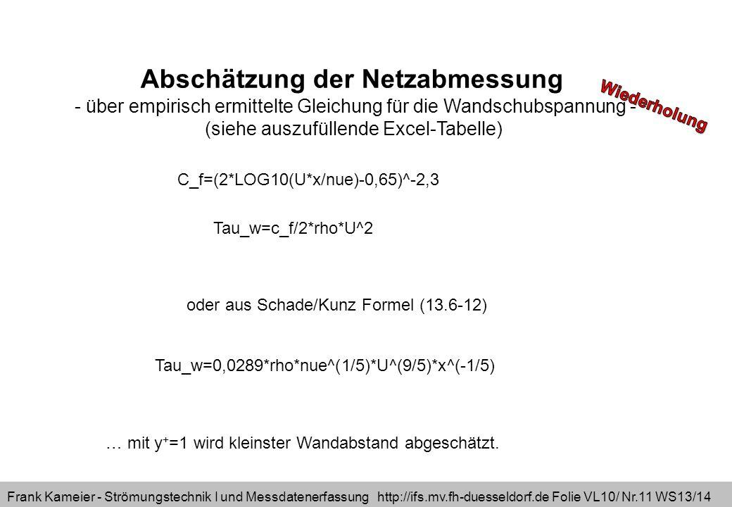 Frank Kameier - Strömungstechnik I und Messdatenerfassung http://ifs.mv.fh-duesseldorf.de Folie VL10/ Nr.11 WS13/14 Abschätzung der Netzabmessung - üb
