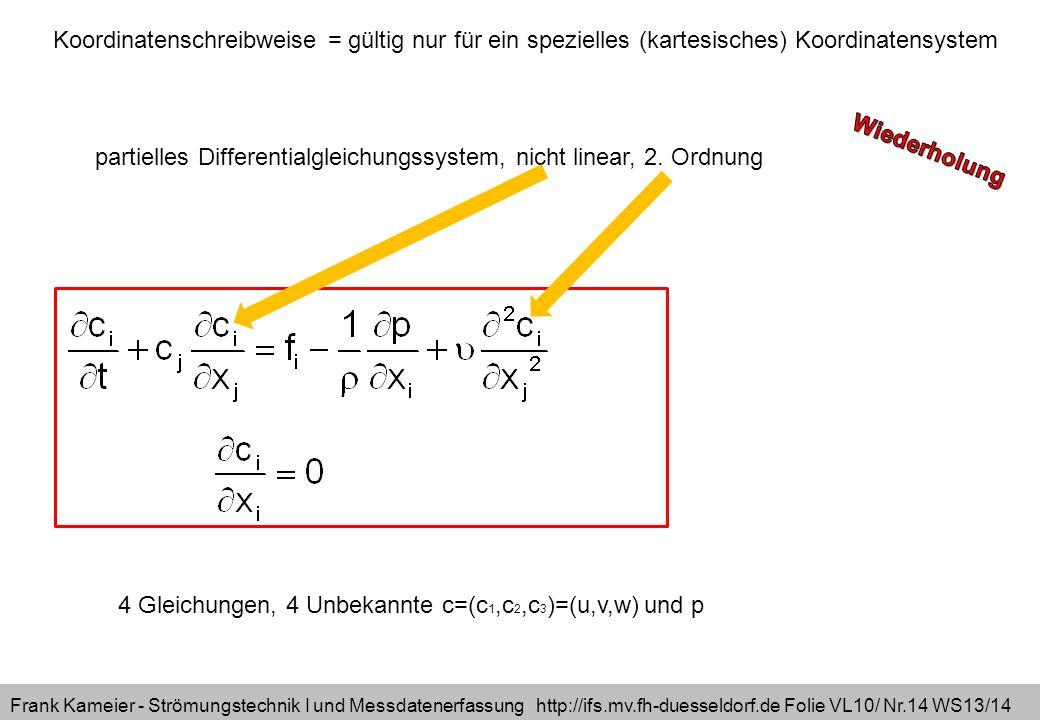 Frank Kameier - Strömungstechnik I und Messdatenerfassung http://ifs.mv.fh-duesseldorf.de Folie VL10/ Nr.14 WS13/14 4 Gleichungen, 4 Unbekannte c=(c 1