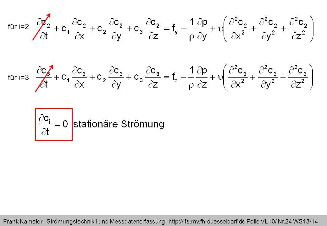 Frank Kameier - Strömungstechnik I und Messdatenerfassung http://ifs.mv.fh-duesseldorf.de Folie VL10/ Nr.24 WS13/14 für i=2 für i=3