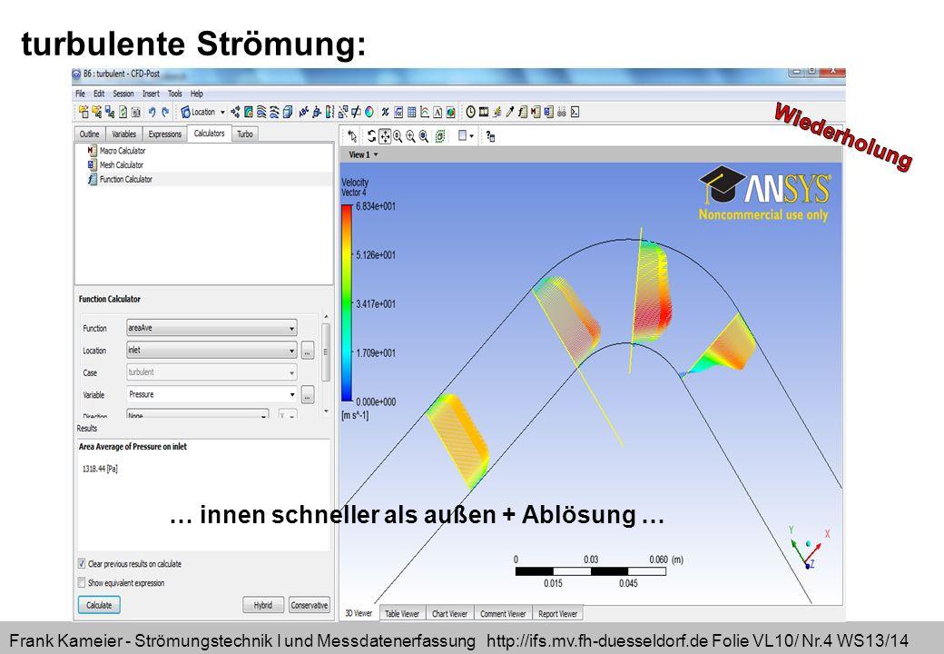 Frank Kameier - Strömungstechnik I und Messdatenerfassung http://ifs.mv.fh-duesseldorf.de Folie VL10/ Nr.15 WS13/14 Alle Schreibweisen sind gleichwertig!