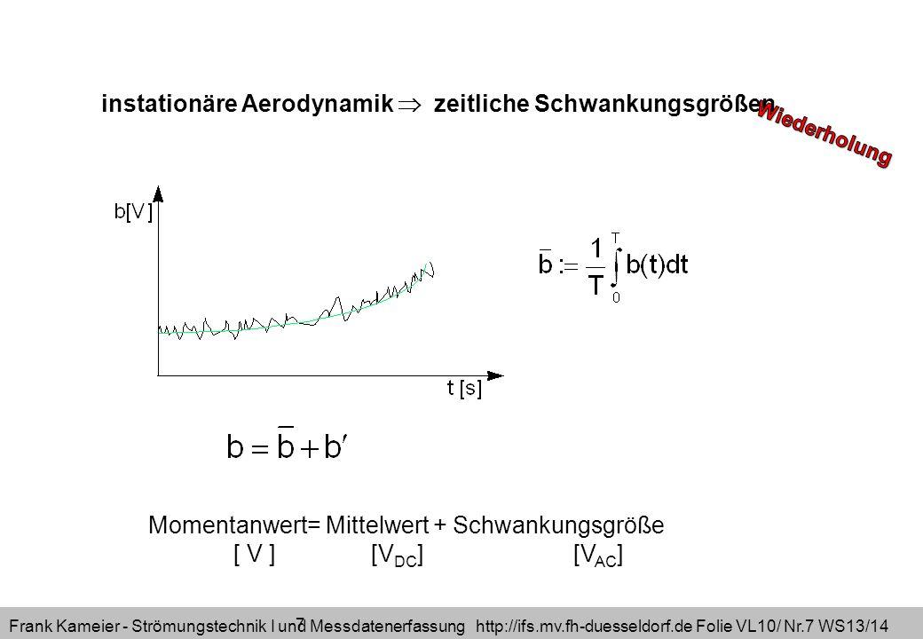 Frank Kameier - Strömungstechnik I und Messdatenerfassung http://ifs.mv.fh-duesseldorf.de Folie VL10/ Nr.8 WS13/14 Reynolds-Gleichungen: Annährung turbulenter Strömungen möglich einsetzen von Mittel- und Schwankungswert zeitliche Mittelung RANS (Reynolds Averaged Navier Stokes)