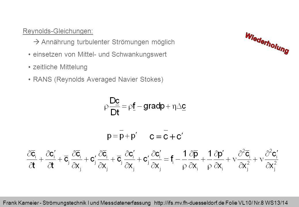 Frank Kameier - Strömungstechnik I und Messdatenerfassung http://ifs.mv.fh-duesseldorf.de Folie VL10/ Nr.9 WS13/14 Reynoldsgleichung turbulente Zähigkeit Turbulenzmodelle etc.