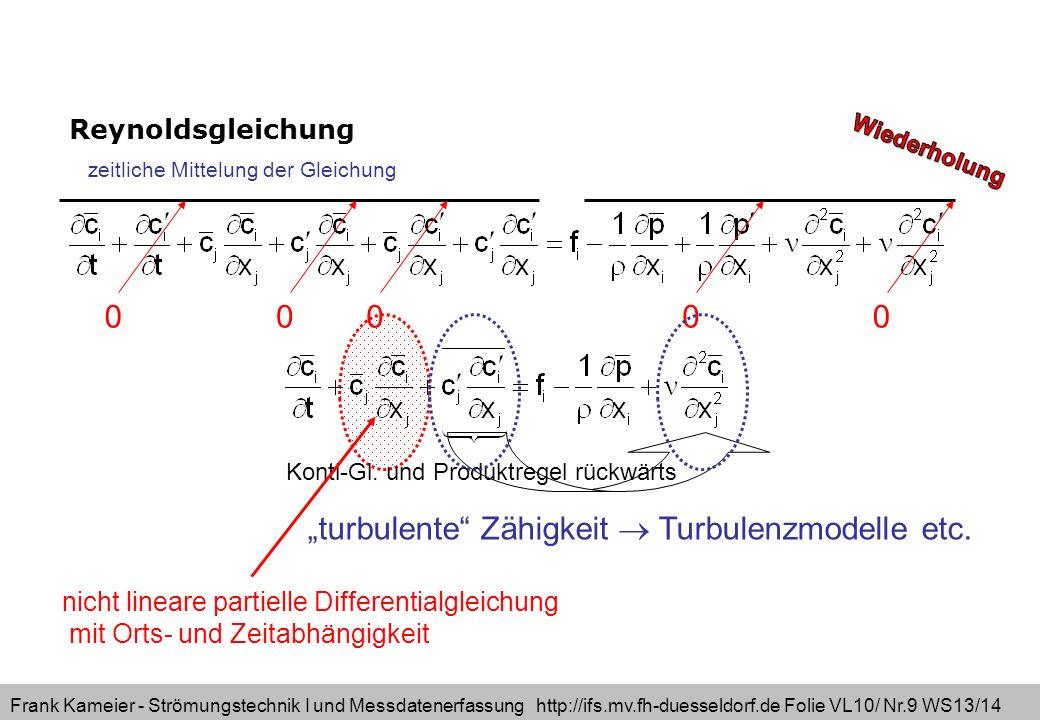 Frank Kameier - Strömungstechnik I und Messdatenerfassung http://ifs.mv.fh-duesseldorf.de Folie VL10/ Nr.9 WS13/14 Reynoldsgleichung turbulente Zähigk