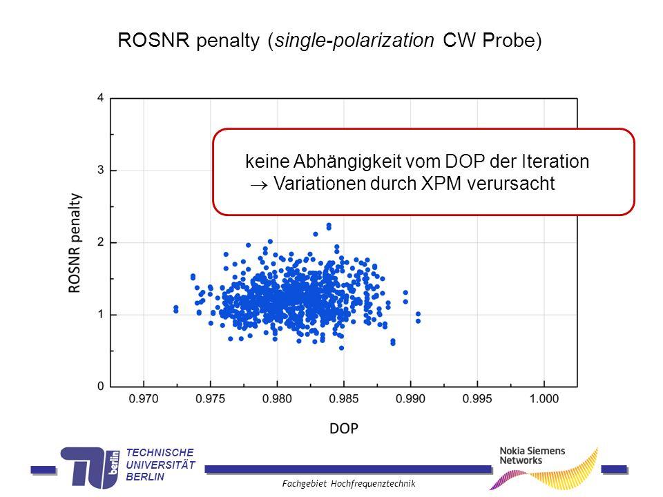 TECHNISCHE UNIVERSITÄT BERLIN Fachgebiet Hochfrequenztechnik ROSNR penalty (single-polarization CW Probe) keine Abhängigkeit vom DOP der Iteration Var