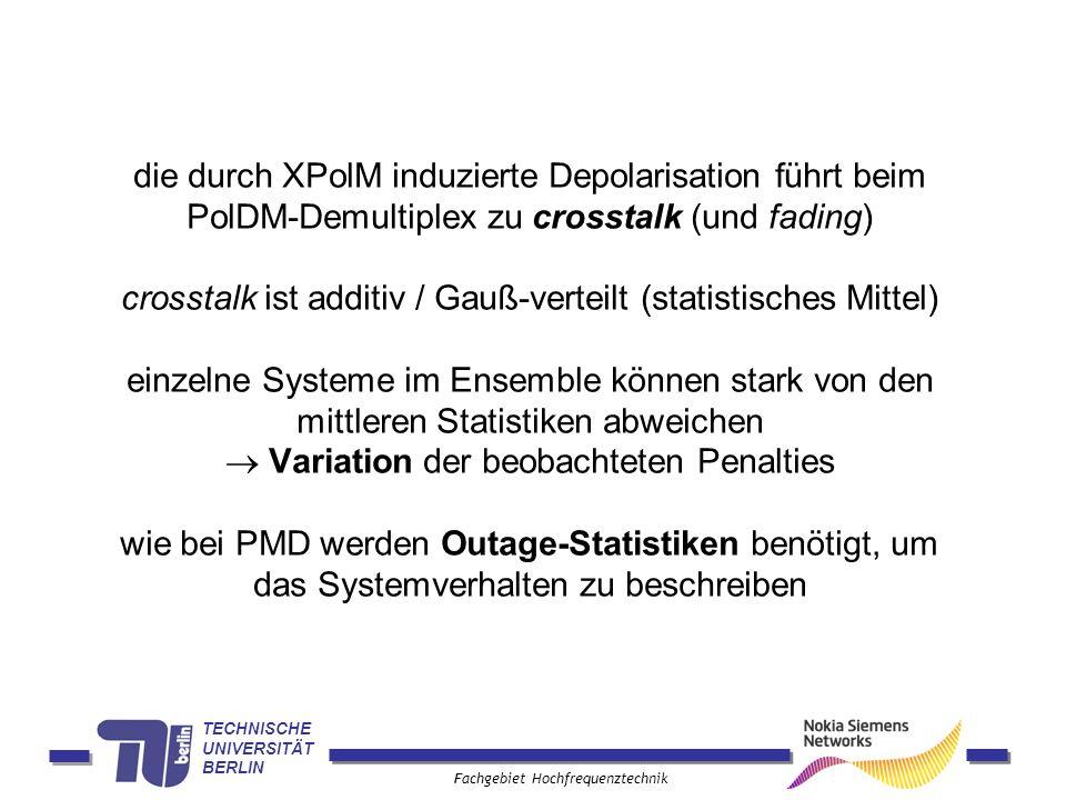 TECHNISCHE UNIVERSITÄT BERLIN Fachgebiet Hochfrequenztechnik die durch XPolM induzierte Depolarisation führt beim PolDM-Demultiplex zu crosstalk (und