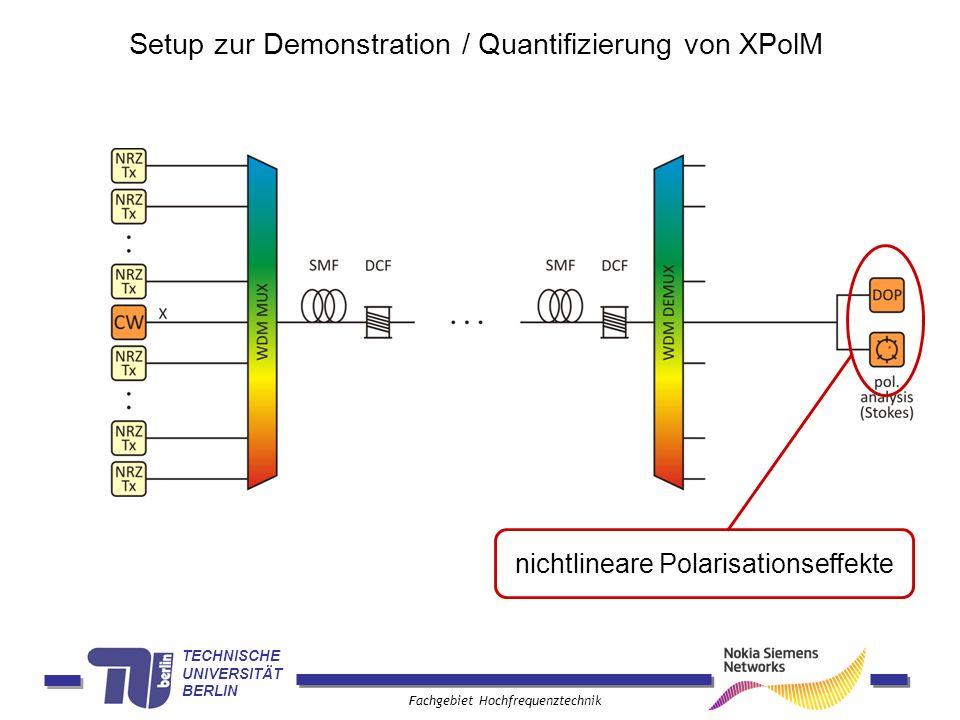 TECHNISCHE UNIVERSITÄT BERLIN Fachgebiet Hochfrequenztechnik nichtlineare Polarisationseffekte Setup zur Demonstration / Quantifizierung von XPolM
