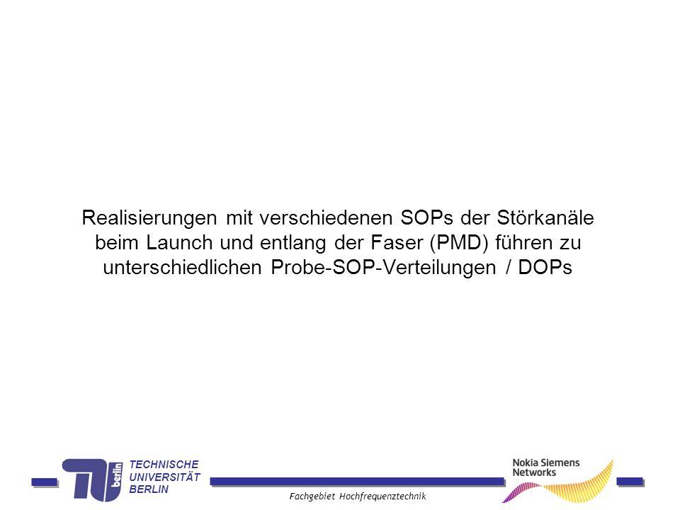 TECHNISCHE UNIVERSITÄT BERLIN Fachgebiet Hochfrequenztechnik Realisierungen mit verschiedenen SOPs der Störkanäle beim Launch und entlang der Faser (P