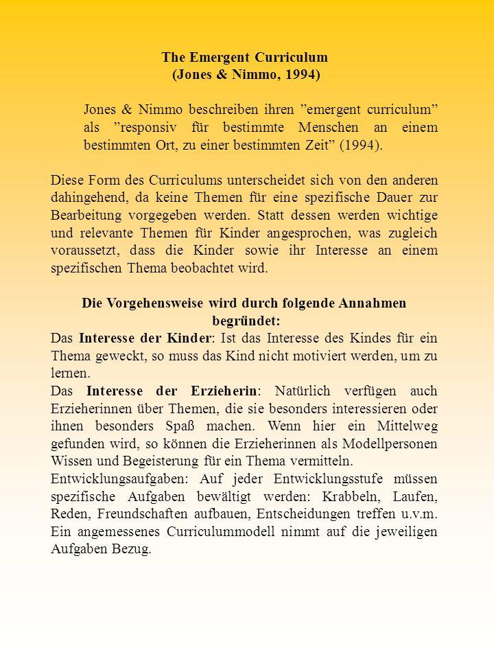 The Emergent Curriculum (Jones & Nimmo, 1994) Jones & Nimmo beschreiben ihren emergent curriculum als responsiv für bestimmte Menschen an einem bestim
