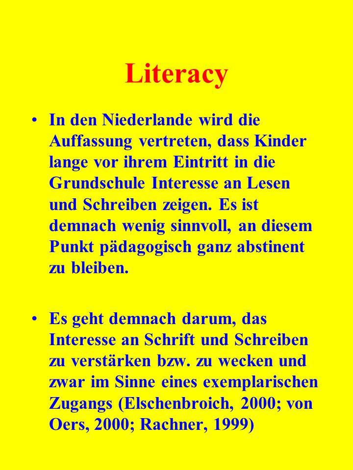 Literacy In den Niederlande wird die Auffassung vertreten, dass Kinder lange vor ihrem Eintritt in die Grundschule Interesse an Lesen und Schreiben ze