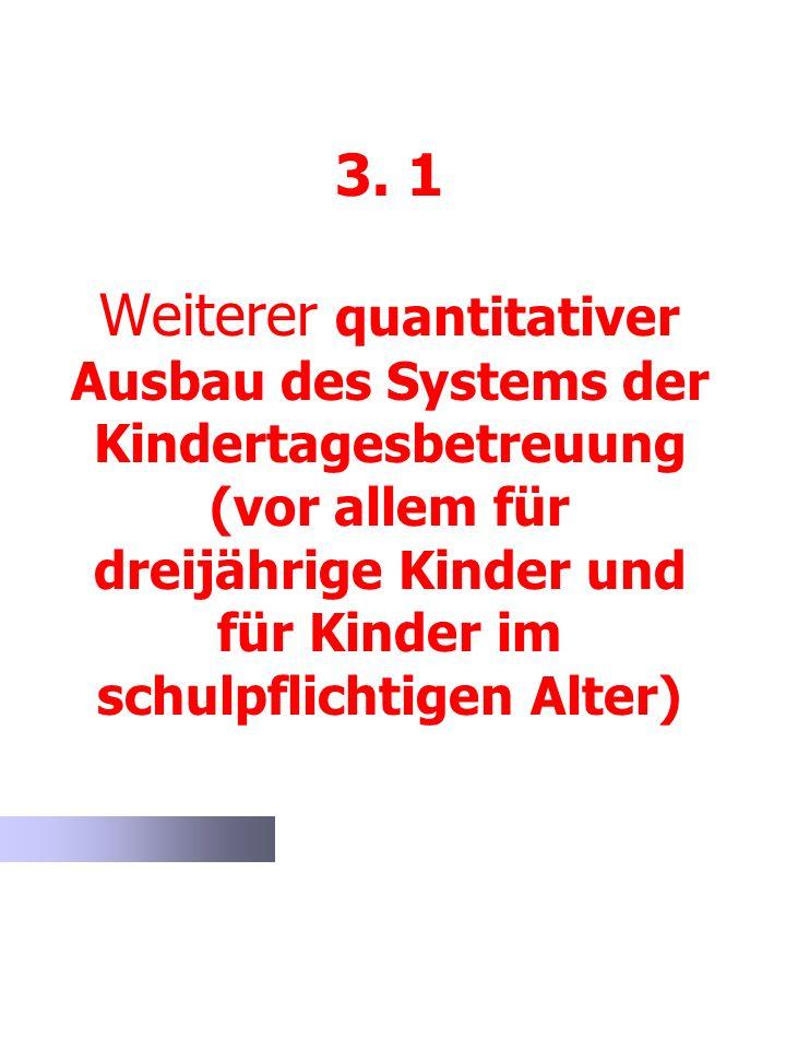 3. 1 Weiterer quantitativer Ausbau des Systems der Kindertagesbetreuung (vor allem für dreijährige Kinder und für Kinder im schulpflichtigen Alter)