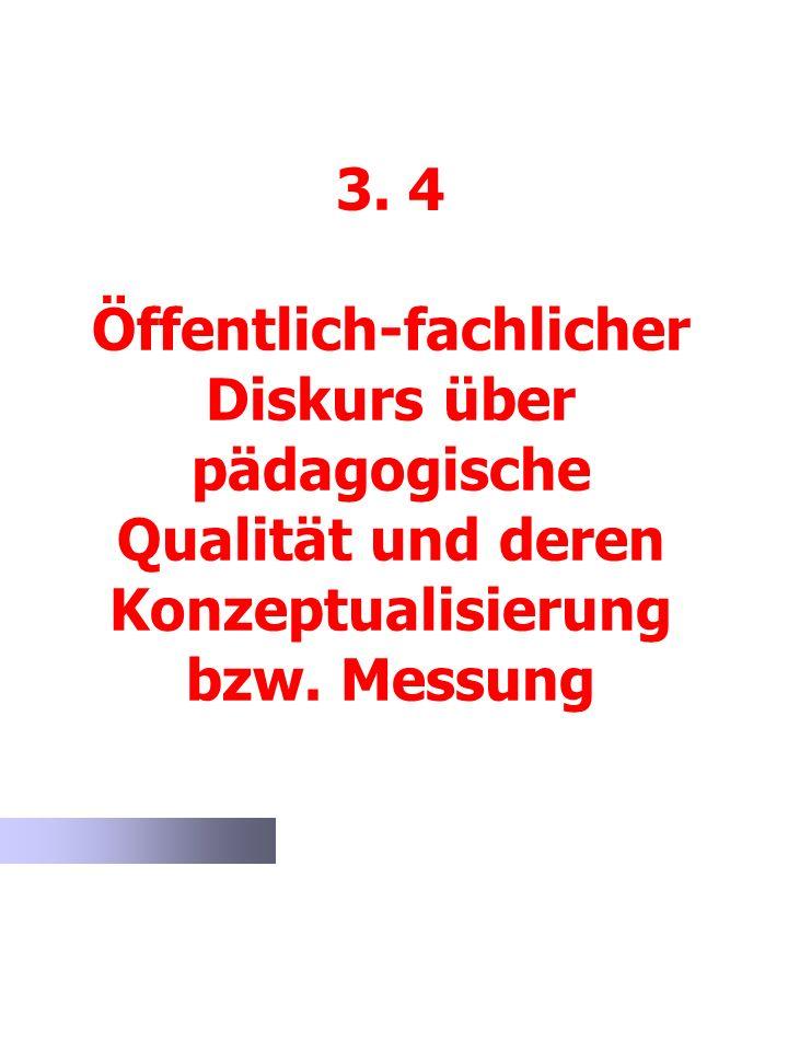 3. 4 Öffentlich-fachlicher Diskurs über pädagogische Qualität und deren Konzeptualisierung bzw. Messung