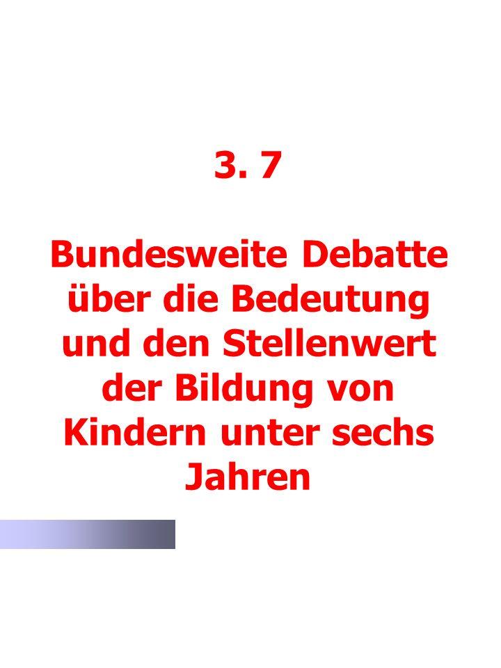 3. 7 Bundesweite Debatte über die Bedeutung und den Stellenwert der Bildung von Kindern unter sechs Jahren