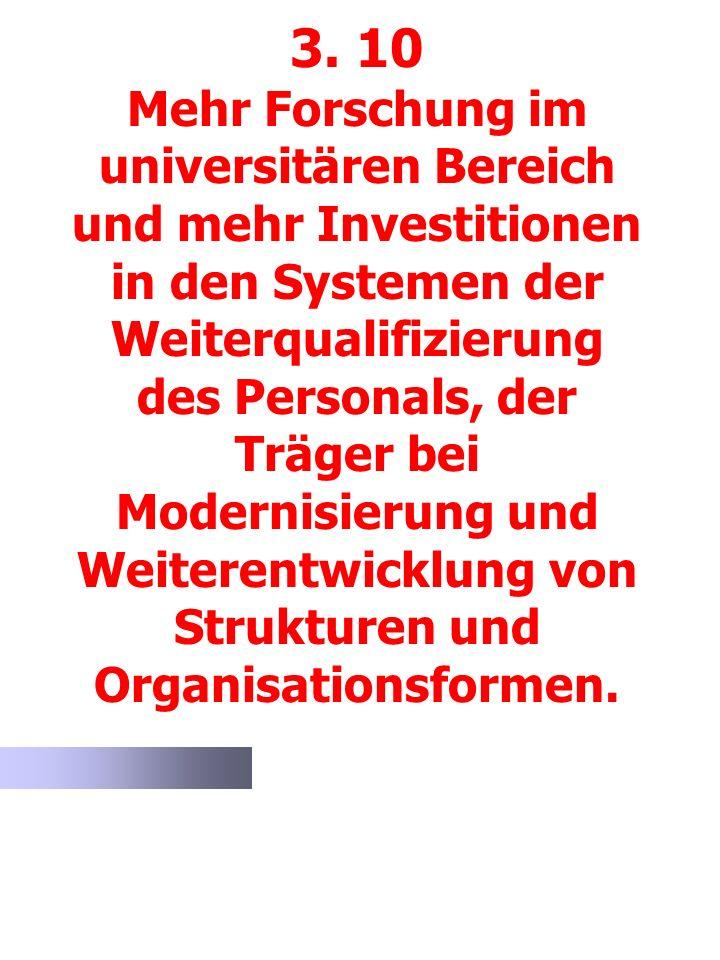 3. 10 Mehr Forschung im universitären Bereich und mehr Investitionen in den Systemen der Weiterqualifizierung des Personals, der Träger bei Modernisie