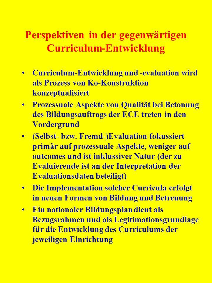 Perspektiven in der gegenwärtigen Curriculum-Entwicklung Curriculum-Entwicklung und -evaluation wird als Prozess von Ko-Konstruktion konzeptualisiert