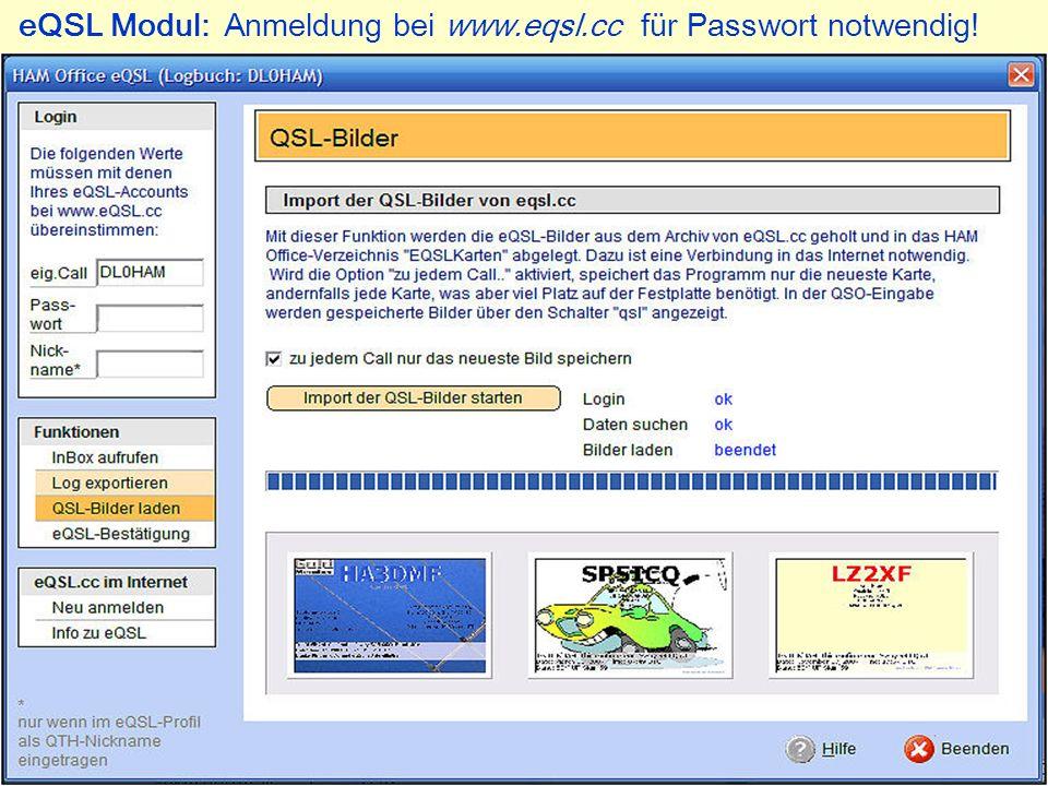 eQSL Modul: Anmeldung bei www.eqsl.cc für Passwort notwendig!
