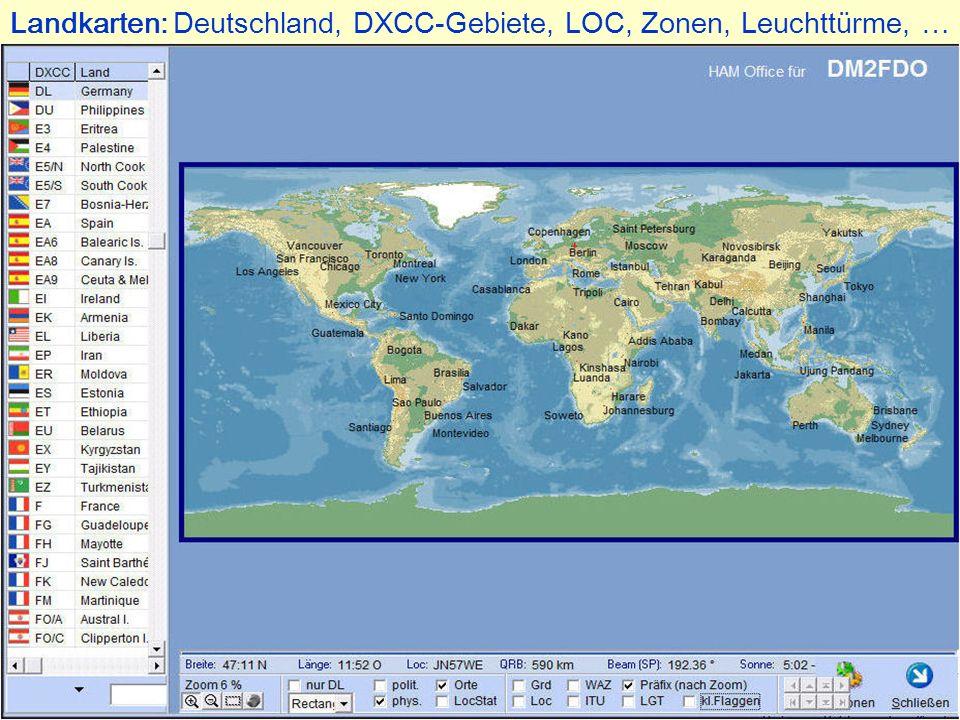 Landkarten: Deutschland, DXCC-Gebiete, LOC, Zonen, Leuchttürme, …
