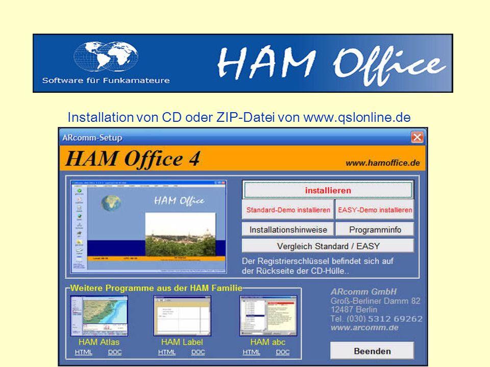 Installation von CD oder ZIP-Datei von www.qslonline.de