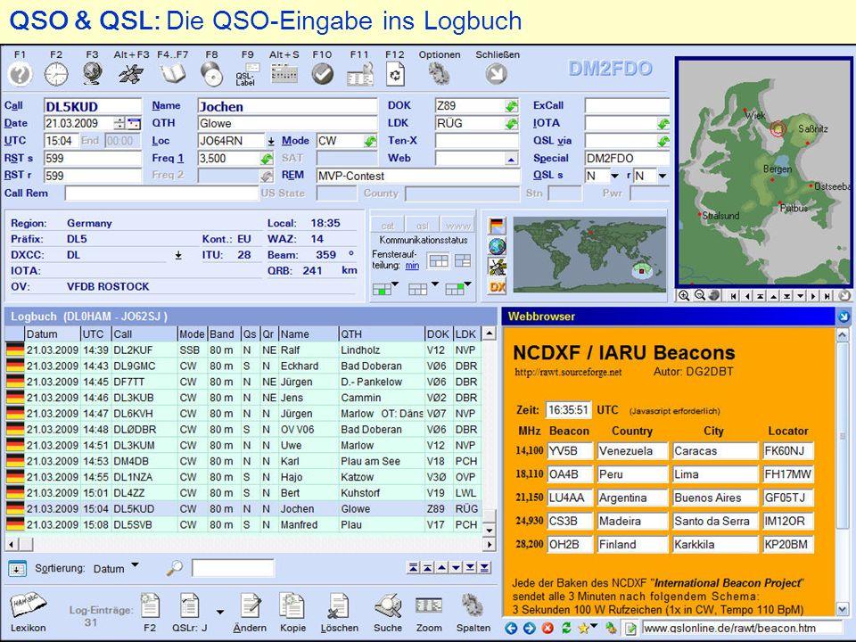 QSO & QSL: Die QSO-Eingabe ins Logbuch