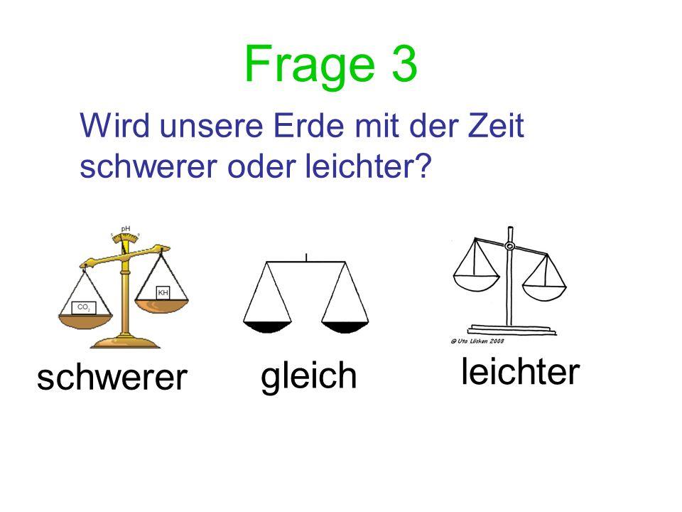 Frage 3 Wird unsere Erde mit der Zeit schwerer oder leichter? schwerer gleich leichter