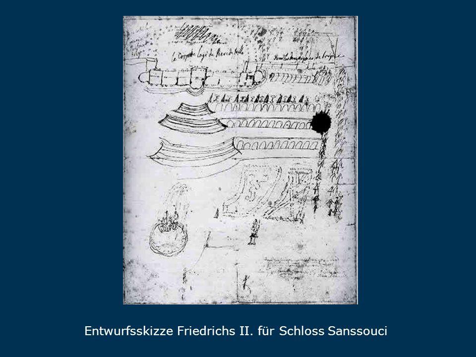 Entwurfsskizze Friedrichs II. für Schloss Sanssouci Skizz e