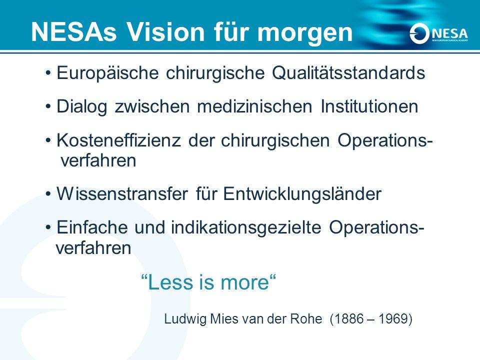 NESAs Vision für morgen Europäische chirurgische Qualitätsstandards Dialog zwischen medizinischen Institutionen Kosteneffizienz der chirurgischen Operations- verfahren Wissenstransfer für Entwicklungsländer Einfache und indikationsgezielte Operations- verfahren Less is more Ludwig Mies van der Rohe (1886 – 1969)