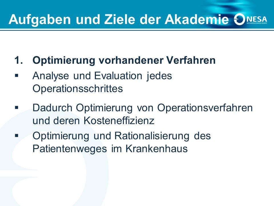Aufgaben und Ziele der Akademie 1.Optimierung vorhandener Verfahren Analyse und Evaluation jedes Operationsschrittes Dadurch Optimierung von Operationsverfahren und deren Kosteneffizienz Optimierung und Rationalisierung des Patientenweges im Krankenhaus