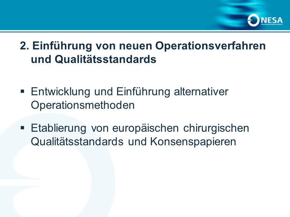 2. Einführung von neuen Operationsverfahren und Qualitätsstandards Entwicklung und Einführung alternativer Operationsmethoden Etablierung von europäis